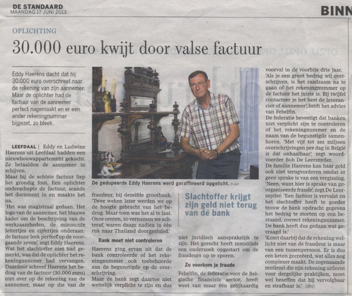 Figure 1.2: News paper article about forged invoices