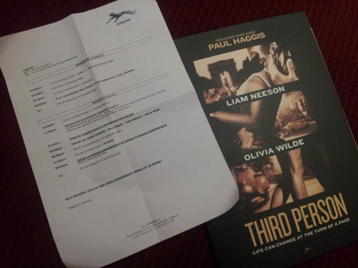 Invitation to Cinecittà regarding the movie Third Person by Paul Haggis