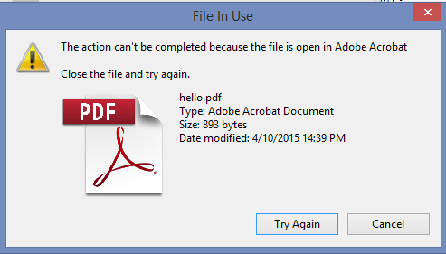 """File in use"" dialog"