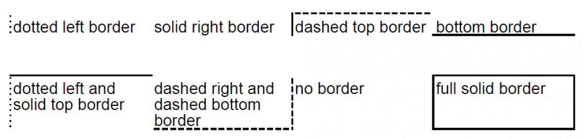 Table cells with different border types